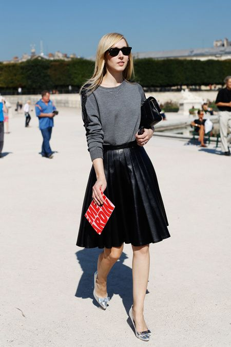 black-leather-midi-skirt-pleated-grey-sweatshirt-jane-keltner-lavalle-via-stylesaint.com