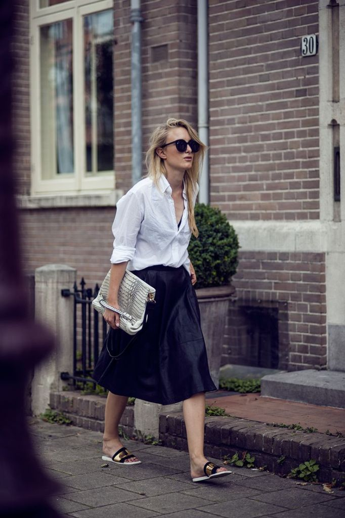 black-leather-midi-skirt-white-oxford-metallic-slides-sandals-via-raspberry-rouge.com