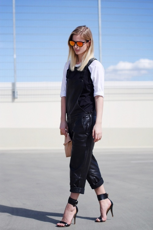 black-leather-overalls-heels-white-tee-via-whowhatwear-.com