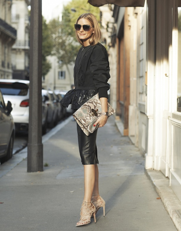 black-leather-pencil-skirt-peplum-jacket-snakeskin-clutch-nude ...