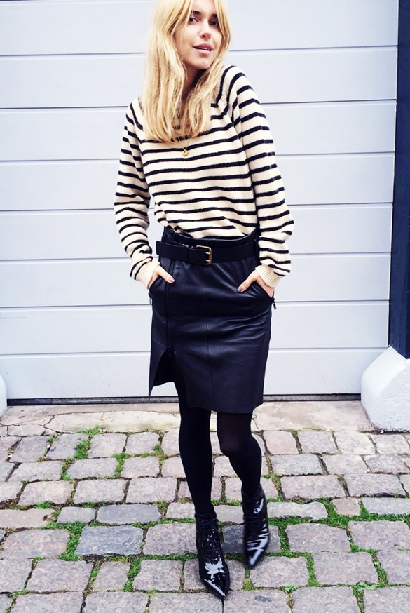 black-leather-skirt-pencil-skirt-striped-sweater-stripes-pointy ...