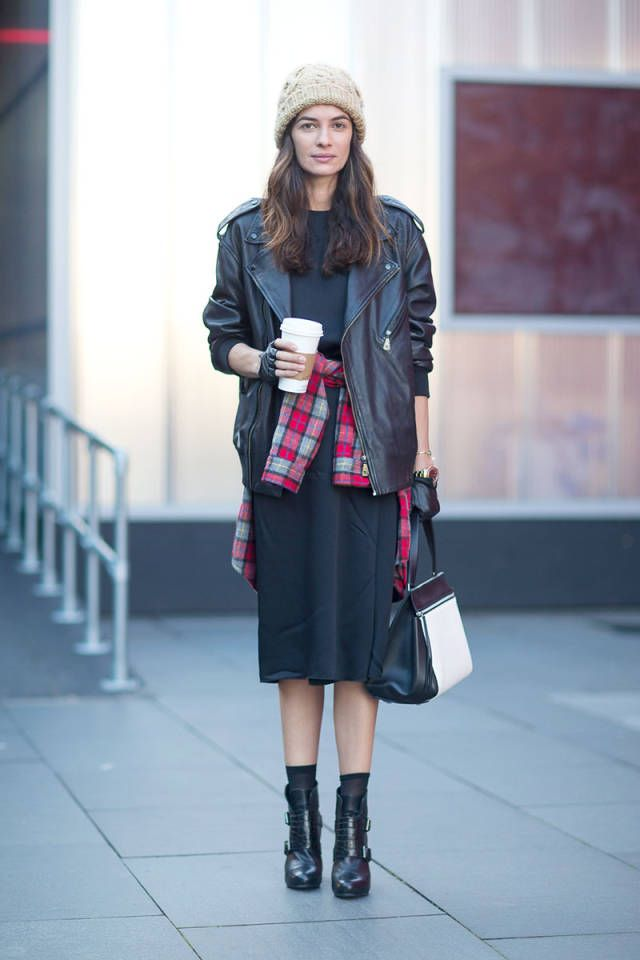 black-midi-skirt-dress-black-leather-moto-jacket-black-ankle-boots-flannel-plaid-shirt-shirt-around-waist-beanie-fall-via-harpersbazaar