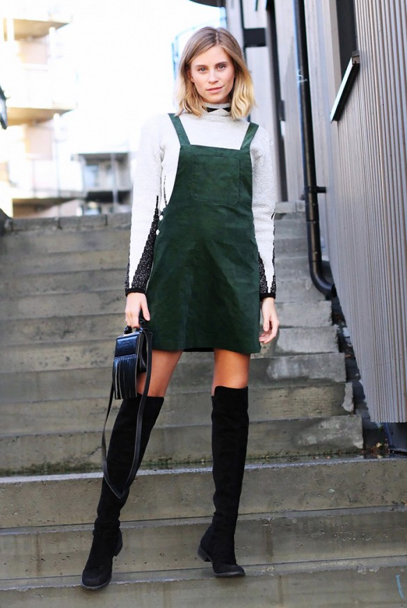 over the knee boots, white turlenecks, romper, army green emerald romper jumper