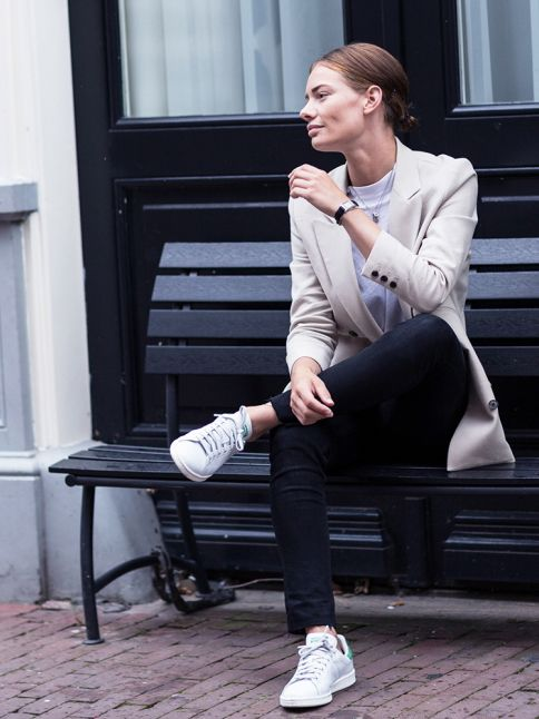 black-skinnies-adidas-sneakers-neutral-blazer-classic-fall-neutrals-via-afterdrk.com