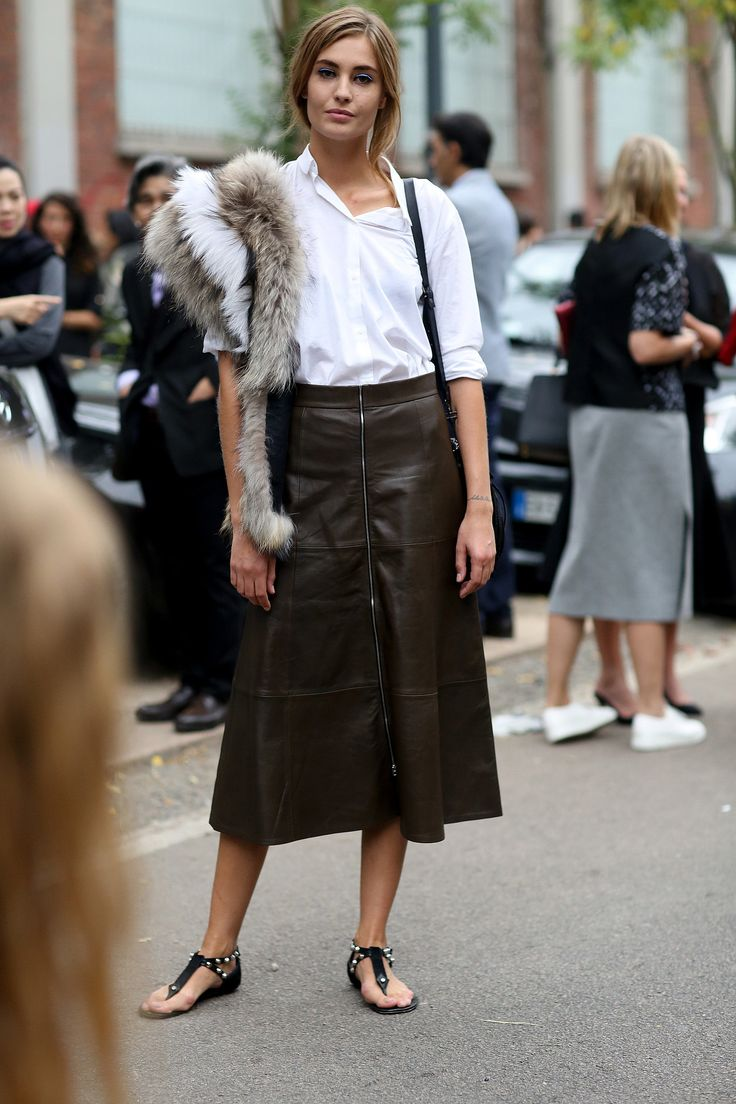 brown-leather-midi-skirt-zipper-exposed-zipper-white-oxford-fur-sandals-studded-fall-via-