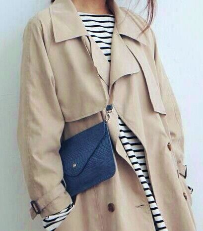 cfc-classic-trench-coat-striped-tee-stripes-khaki-trench-coat-mini-bag-via-inezdaily.com