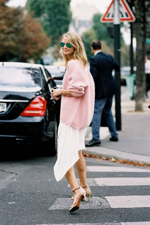 fall-pastels-fall-whites-pink-sweater-asymmetrical-white-skirt-ankle-strap-heels-aviator-sunglasses-via-stylecab.com