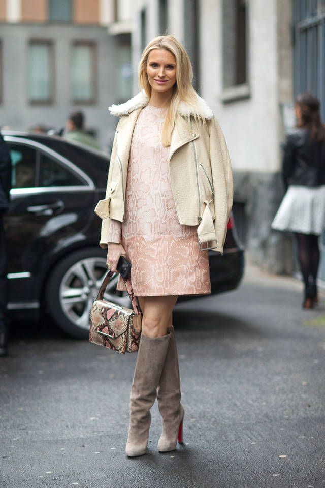 fall-pastels-pastel-pink-white-moto-jacket-shearling-jacket-grey-knee-high-boots-editor-style-snakeskin-dress-via-harpersbazaar
