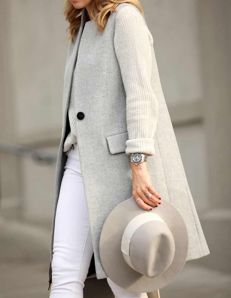 fall-whites-vest-grey-via-brooklynblonde.com, white jeans, grey vest, hat