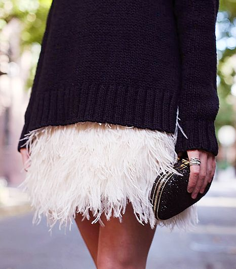 what to wear on New Year's Eve, casual new years outfit, holiday outfit, sparkle, how to wear sparkly clothes, going out, winter going out outfit, feather-mini-skirt-sequin-clutch-sweater-fall-winter-via-whowhatwear