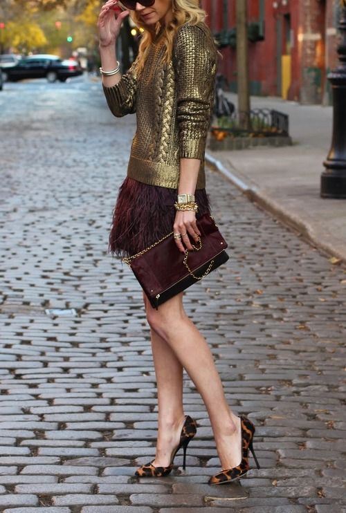 feather-mini=skirt-gold-sweater-leopard-pumps-clutch-via-atlantic-paciic