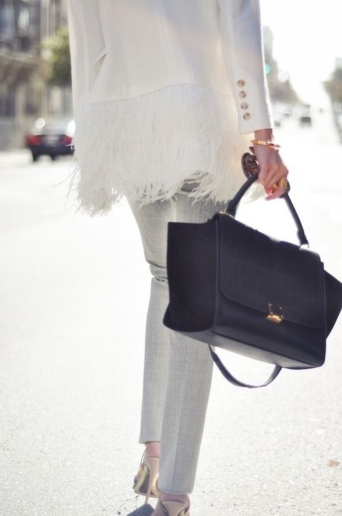 feathers-feathered-blazer-white-blazer-fall-whites-spring-celine-black-tote-bag-going-out-party-via-amongthenarcissi.com