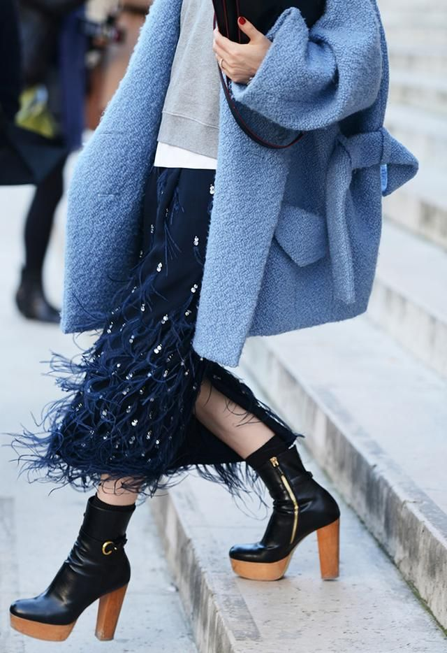 feathers-midi-skirt-party-winter-holiday-sequin-embellished-blue-coat-teddy-beat-coat-black-ankle-boots-blue-viia-style.com