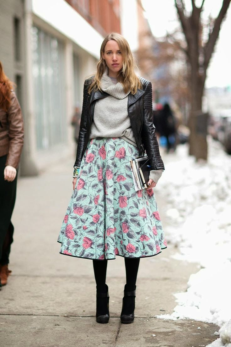 floral-midi-skirt-grey-sweater-moto-jacket-sweaters-and-skirts-booties-black-booties-tights-winter-fall-turtleneck-sweater-fall-pastels-summer-into-fall-viathenletitbe.blogspot.com