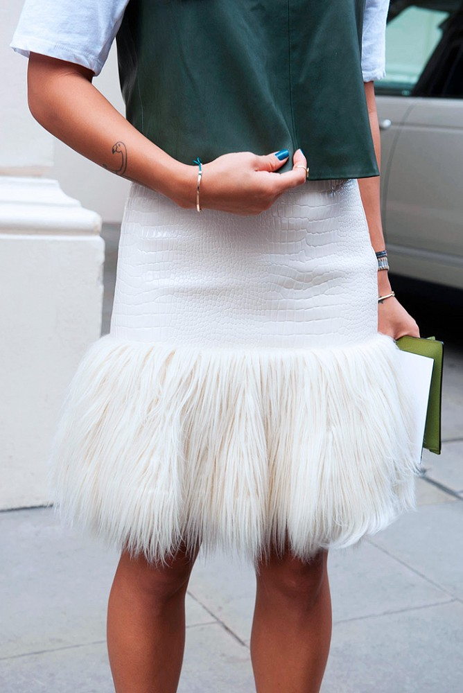 via who what wear, feathers, white skirt, fall whites, emerald, fur, snakeskin, winter whites, feathers