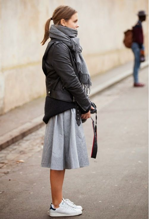 grey-midi-skirt-black-leather-moto-jacket-adidas-stan-smith-sneakers-photographer-sweaters-and-skirts-via-lacooletchic.tumblr.com