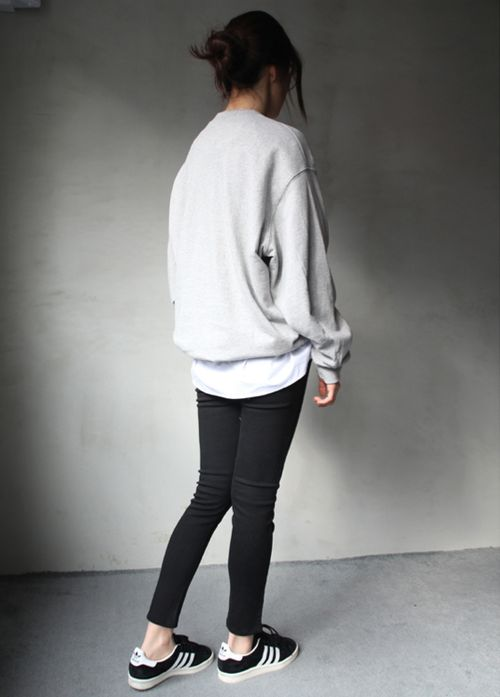 grey-sweatshirt-weekend-black-denim-jeans-adidas-sneakers-via-studdedhearstblog.tumblr.com
