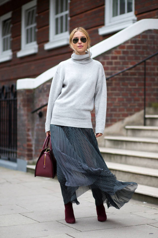 sweaters and skirts, fall winter outfits, printed midi skirt maxi skirt, turtleneck sweater, black boots knee high boots, look de pernille, harpersbazaar.com