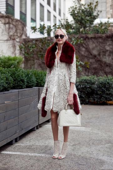 what to wear to holiday parties, brocade jacket, fur trim holiday party