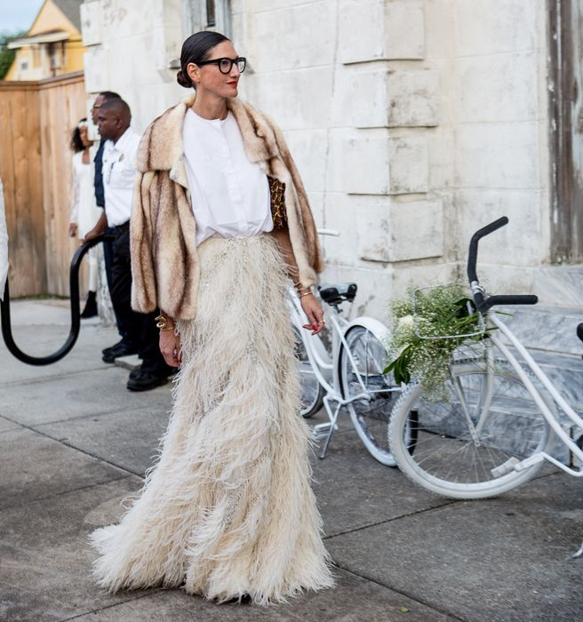 holiday party outfit, sequined dress, party dress, black tie, jenna lyons fringe maxi skirt fur jacket
