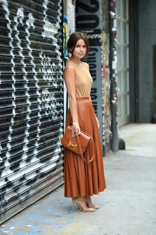 Long Brown Leather Skirt