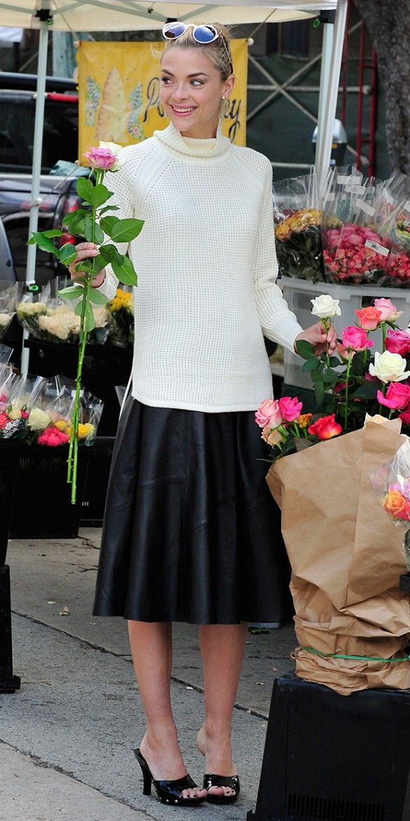 leather-midi-skirt-white-sweater-turtleneck-black-and-white-fall-jamie-king-mules-via-whowhatwear