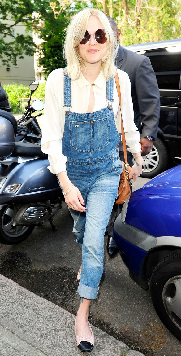 overalls, chanel ballet flats