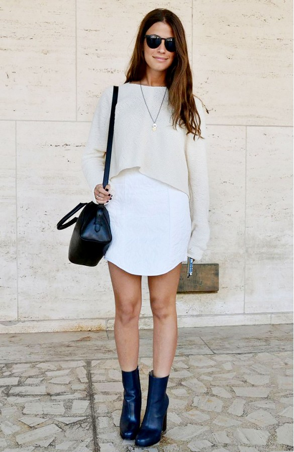 white dress, black booties, amanda weiner, editor style