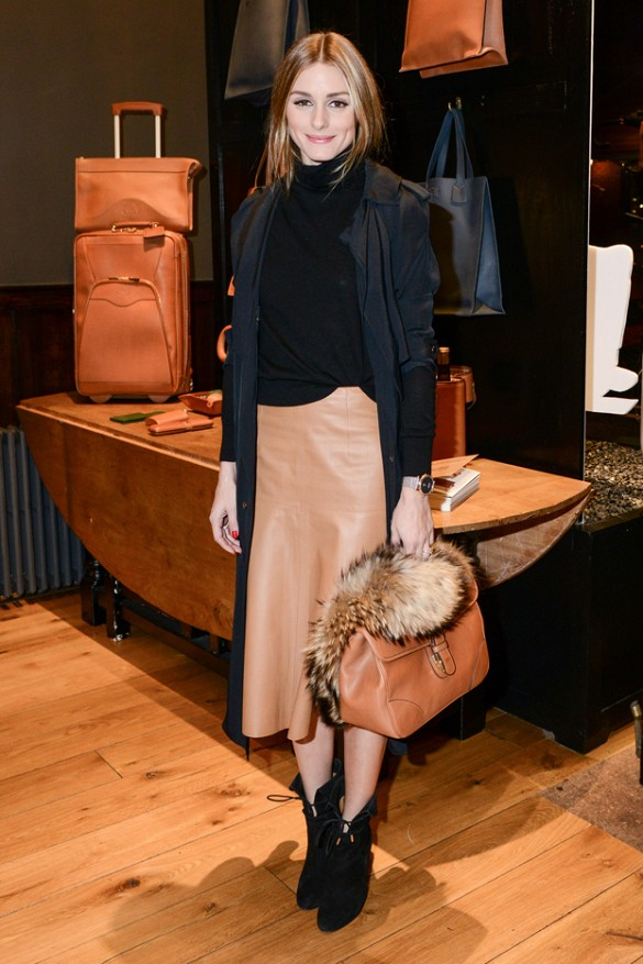 olivia palermo, leather midi skirt, turtleneck, classic, coat, booties, layers, leather midi skirt, camel skirt, black and camel, fall neutrals, navy and black, fur, turtleneck, wedge booties