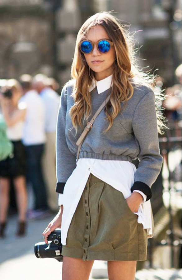 cropped sweater, army green cargo miini skirt, oxford, layers,fall, mirrored sunglasses, via who what wear