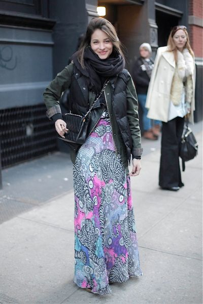 how to wear a maxi dress in winter, maria duenas, puffy vest, scarf