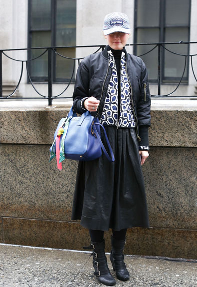 mary-kate-steinmiller-midi-skirt-edgy-chunky-boots-layered-jackets-bomber-coat-baseball-hat