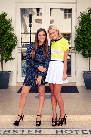 mary-kate-steinmiller-pleated-white-mini-skirt-neon-platform-heels