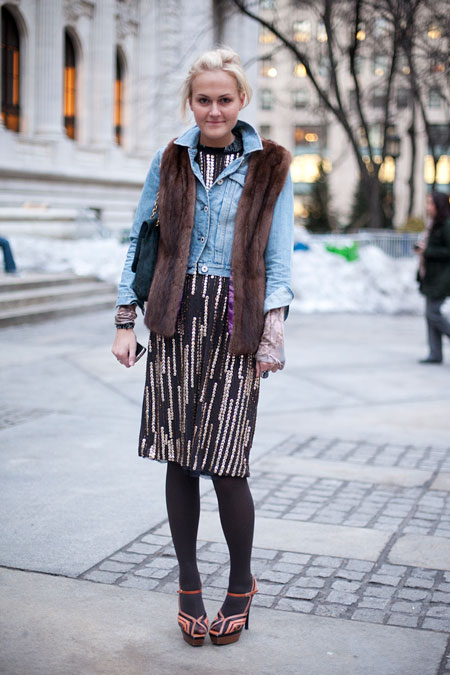 mary-kate-steinmiller-vur-vest-denim-jacket-sequin-dres-party-dress-day-tights-sandals-platform-sandals-fall-winter
