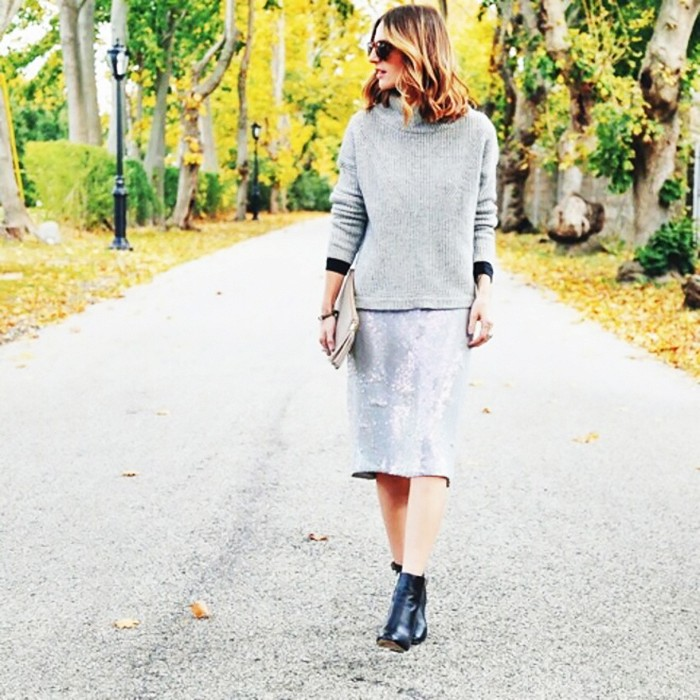 what to wear to holiday parties, sequined skirt, booties sweater