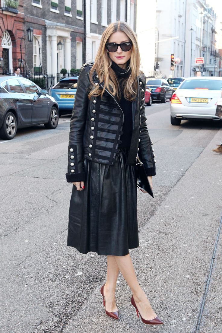 olivia-palermo-black-leather-midi-skirt-military-jacket-leather-jacket-olivia-palermo-turtleneck-all-black-monochormatic--burgundy-oxblood-pointy-toe-pumps-via-whowhatwear