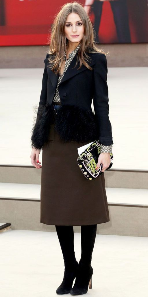 how to wear brown and black, black feathered jacket, brown midi skirt, black tights, fall winter work outfit, holiday party outfit, olivia palermo