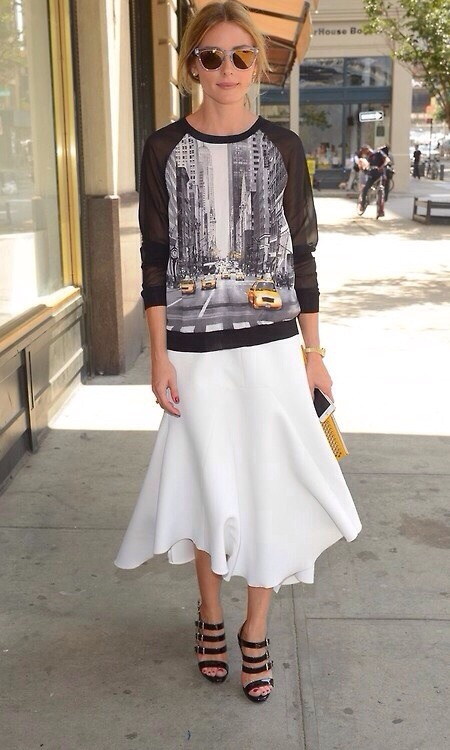 olivia-palermo-white-skirt-fall-whites-white-midi-skirt-black-strappy-sandals-graphic-screenprint-sweatshirt-clear-mirrored-sunglasses-fall-via-whowhatwear
