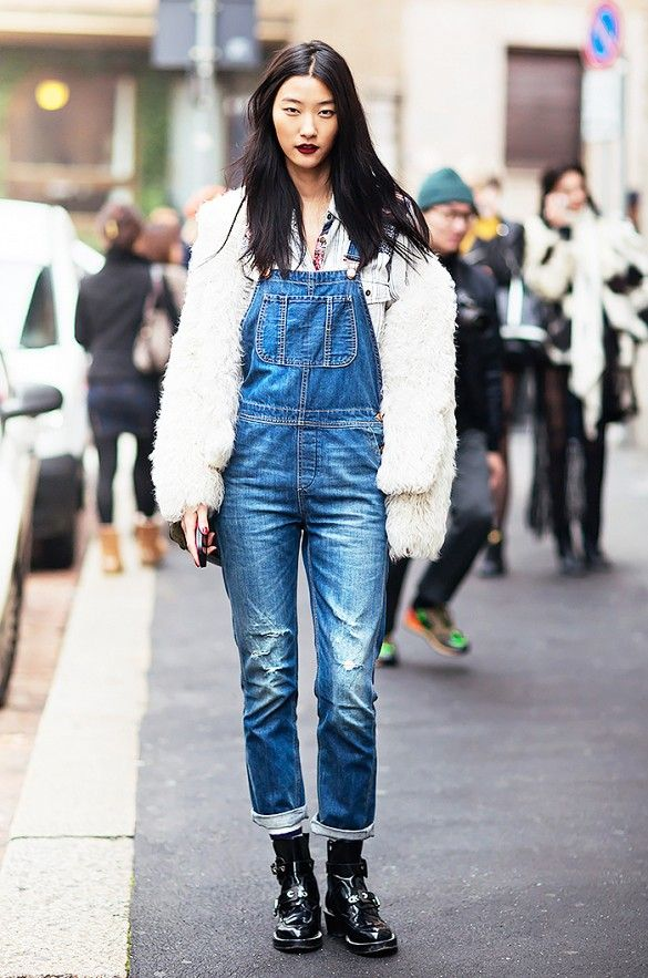 overalls-black-chelsea-boots-furry-fuzzy-jacket-feather-via-whowhatwear