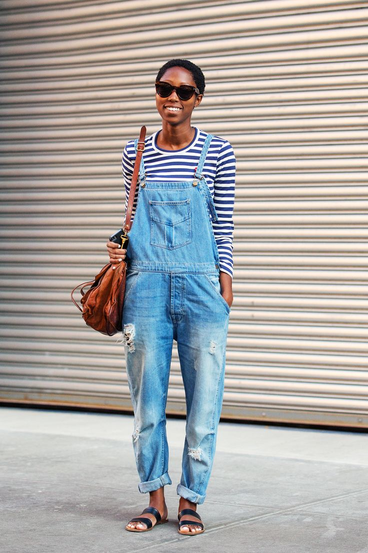 overalls-distressed-striped-tee-stripes-sandals-slides-via-refinery29.com