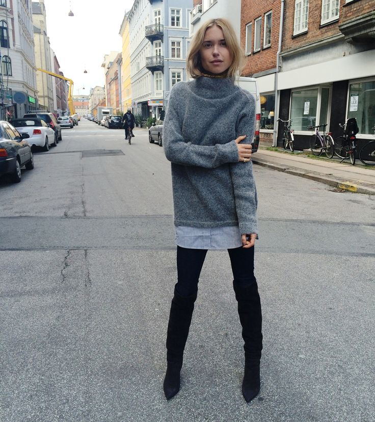 black over the knee thigh high boots, black skinnies, grey turtleneck sweater, fall layers, fall weekend outfit, movie night outfit, lookdepernille.com