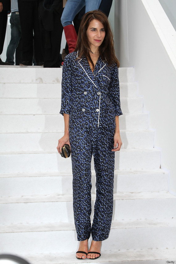 Louis Vuitton Arrivals, Paris Fashion Week Spring / Summer 2012, Pajamas, pjs in public, printed pants, going out, french style