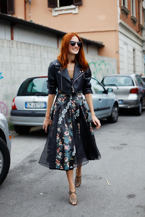 floral print midi skirt, party dress for day, dark florals, cropped leather moto jacket, black leather moto jacke,t ankle strap peep toe heels, cat eye sunglasses, taylor tomassi hill, editor style, nude beige heels, party-dress-cocktail-dress-for-day-moto-jacket-floral-midi-taylor-tomassi-hill-editor-via-adoreness.com-via-trumpetandhorn