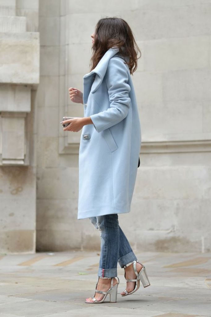 how to roll your jeans, denim styling, jeans pastel-blue-coat-rolled-jeans-metallic-sandals-fall-pastels-via-fashioncognoscente.blogspot.gr