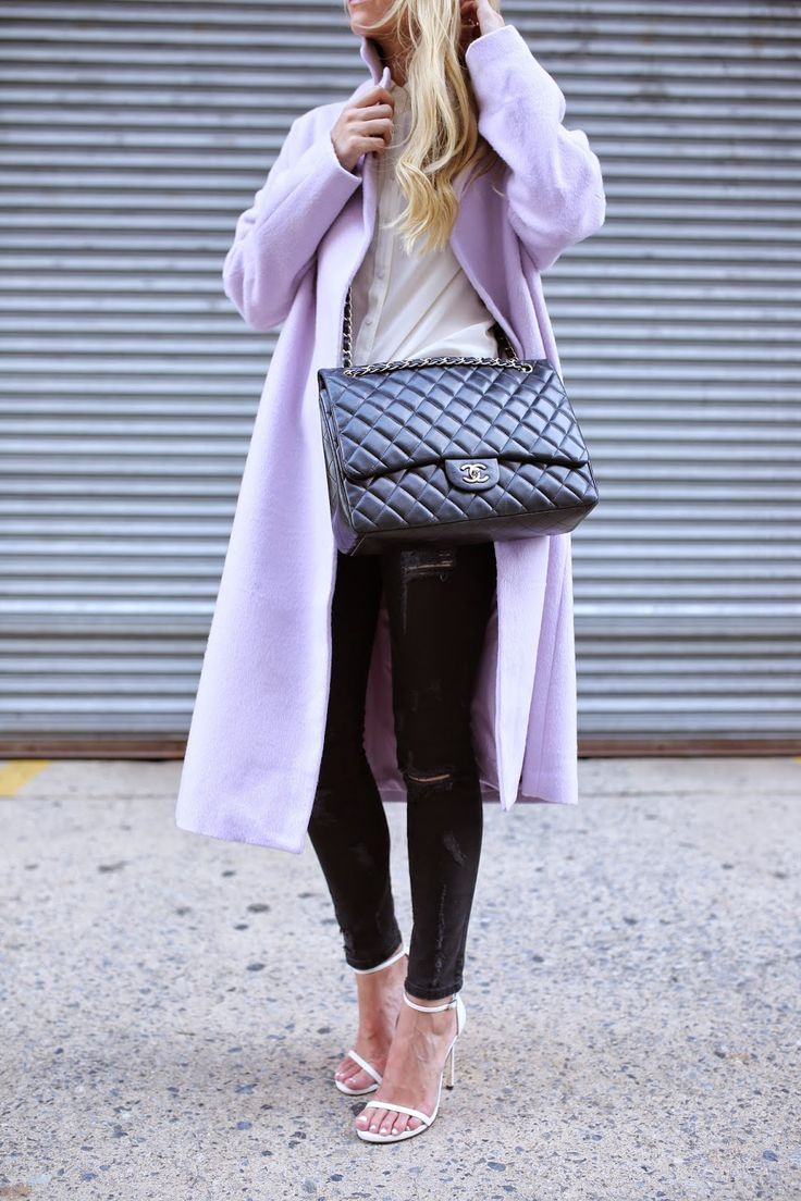 pastel-purple-coat-chanel-quilted-caot-black-denim-jeans-ankle-strap-heels-white-sandals-white-oxford-via-atlantic-pacific