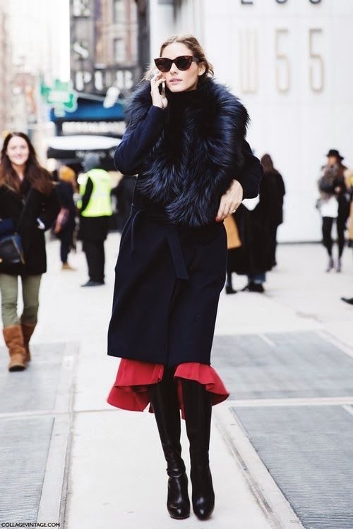via collage vintage, olivia palermo, ruffle hem, red, black coat, fur, sunglasses, black winter coat, outerwear, boots, skirts and boots, tights, winter, holiday
