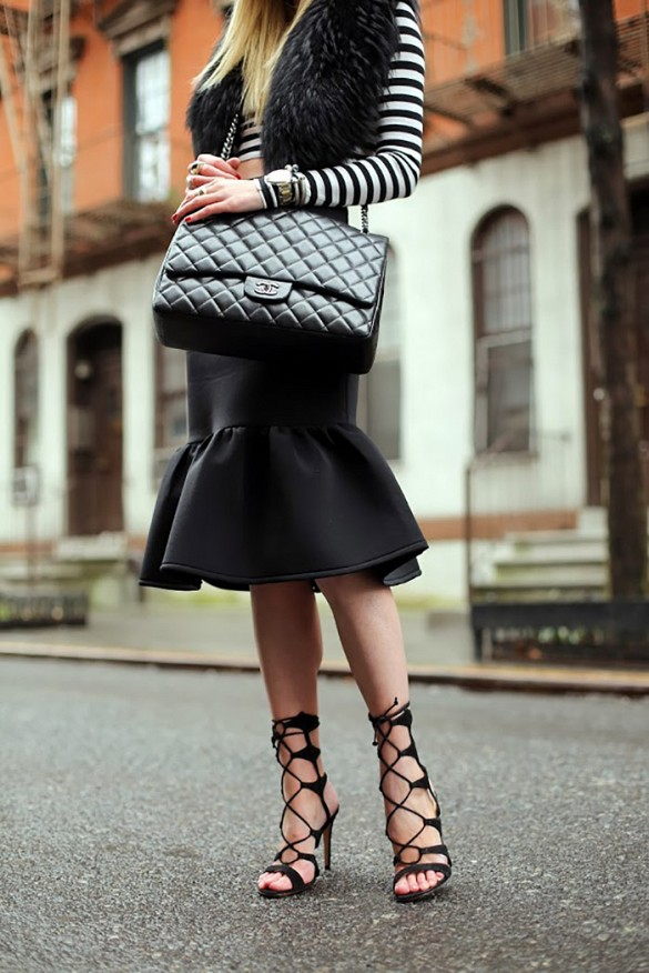 via atlantic-pacific, peplum skirt, stripes, fall crop tops, fur, fur vest, lace up shoes, night out, fall, winter, quilted chanel bag, via atlantic pacific