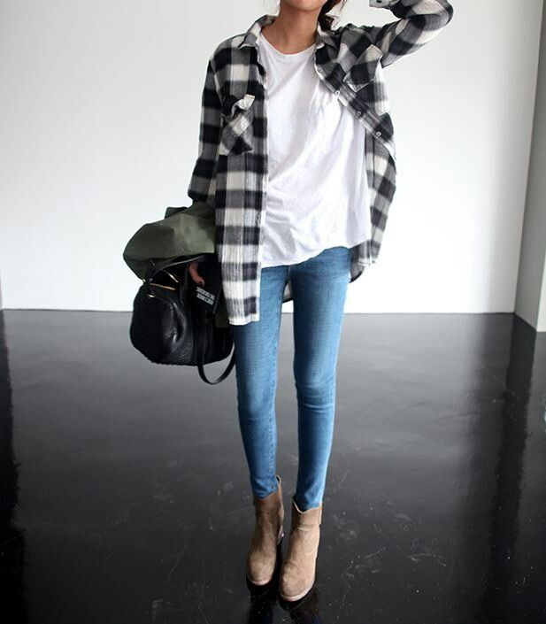 plaid-flannel-shirt-jeans-white-tee-booties-via-pinterest