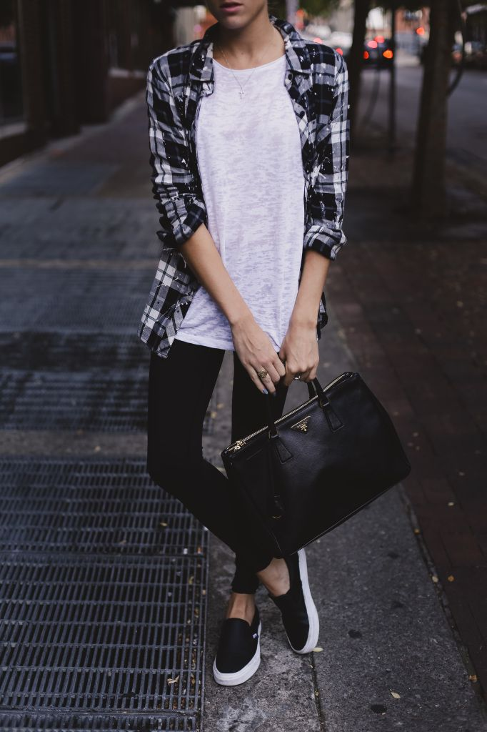 plaid-shirt-black-jeans-black-slip-on-sneakers-weekend-fall-via-thelocusofstyle.com