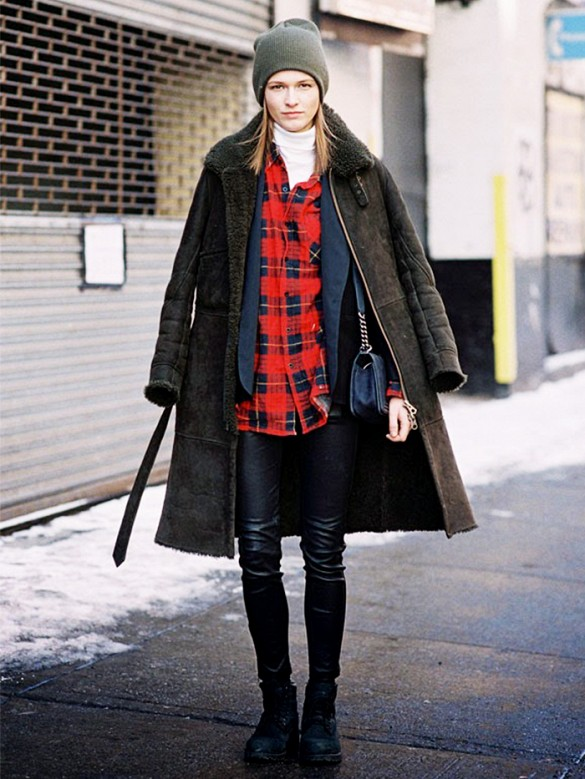 plaid-shirt-leather-skinny-pants-fall-winter-shearling-coat-beanie